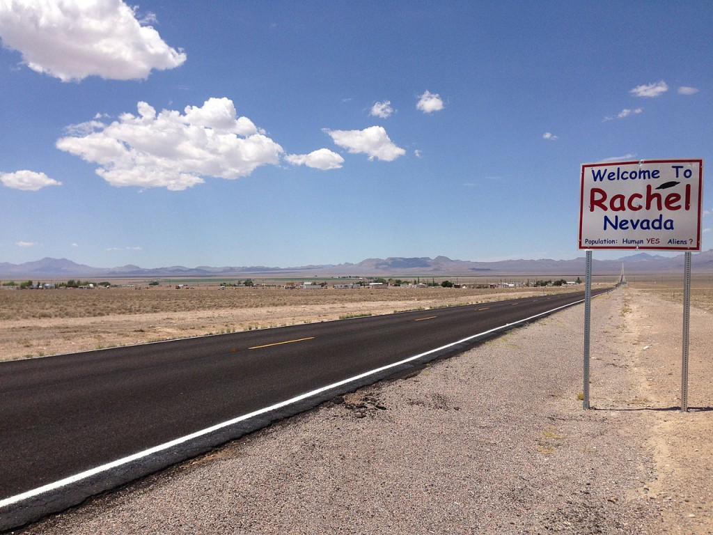 2014-07-18_13_11_09_Sign_for_and_view_of_Rachel,_Nevada_from_northbound_Nevada_State_Route_375_about_38.5_miles_north_of_Nevada_State_Route_318